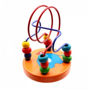 Joc educativ, Carusel cu bile din lemn, Portocaliu, + 1 an,12 x 9 cm