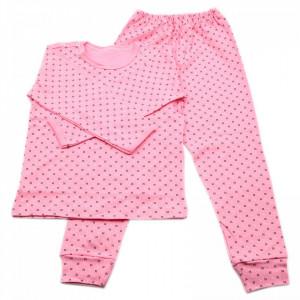 Pijamale copii, Model roz cu punctulete negre, Model Romanesc, Bumbac, 5 - 6 ani, P34P10