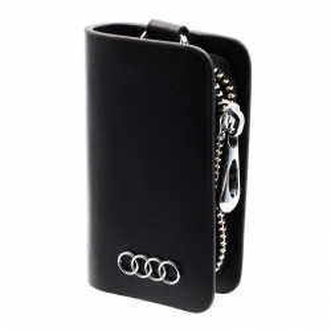 Portofel pentru cheie auto, sigla AUDI, tip breloc, piele, cu fermoar, 10 x 6 x 2.5 cm, Negru