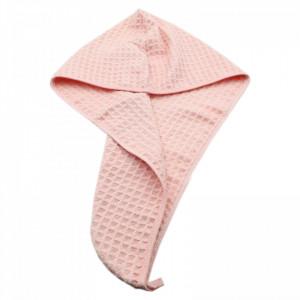 Prosop pentru uscat parul, absorbant, cu un nasture pentru fixare, pentru adulti, imprimeu carouri, 65 x 26 cm, Roz pudra