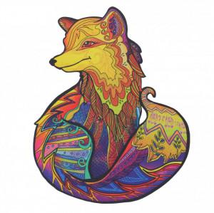 Puzzle Vulpe din lemn, Multicolor, 15 x 21 cm, 99 piese