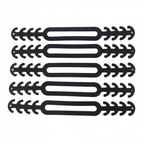 Set 10 bucati banda silicon cauciucat de prindere pentru masti de protectie, Negru