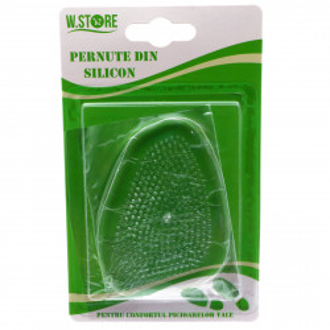 Set 2 bucati, Talonete / Pernute din silicon pentru confort, antialunecare, ortopedic, transparente, 9.5 x 7 cm