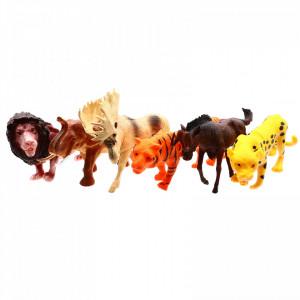 Set 6 figurine, Lumea animalelor, Elan, Tigru, Elefant, Leu, Puma, Zimbru