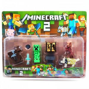 Set 8 accesorii si figurine tip Minecraft si creeperul verde