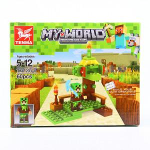Set de constructie Lego, Copacul din padurea fermecata tip Minecraft, 60 Piese