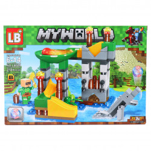 Set de constructie Lego, Tobogan Acvatic tip Minecraft, 210 piese