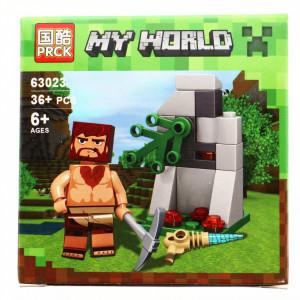 Set de constructie, Minecraft my world, Neandertalul cu tarnacop, 36 piese