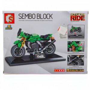 Set de constructie, Motocicleta, Verde, 227 piese