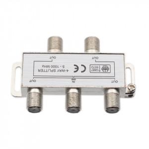 Splitter TV pentru cablu coaxial, 4 iesiri, 5-1000 MHZ,