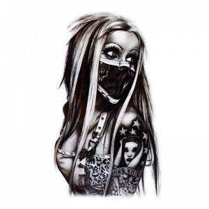 Tatuaj temporar, Fata cu masca, WS013, 15 x 9 cm