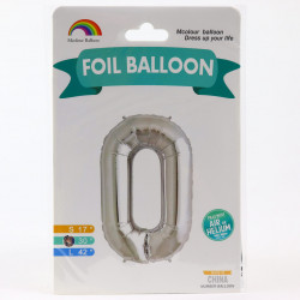 Balon din folie metalizata, 80 cm, cifra 0, Argintiu