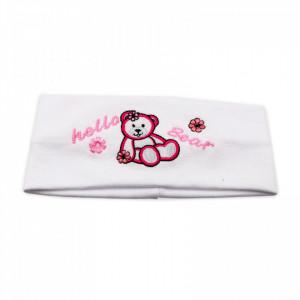Bentite pentru fete, cu imprimeu ursulet, Alb