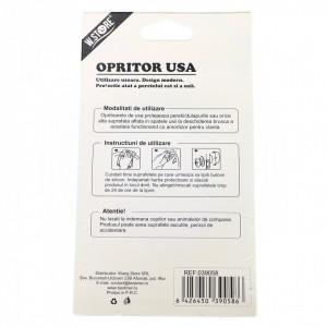 Opritor pentru usi de interior, cu banda adeziva, alb, 6 cm