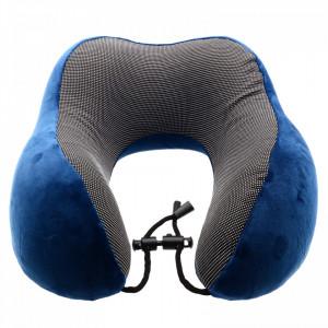 Perna de gat pentru calatorie / voiaj, spuma cu memorie, 26 x 26 cm, Albastru inchis