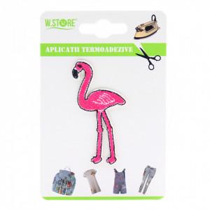 Petic textil / patch brodat, Flamingo, 6.5 x 3.5 cm