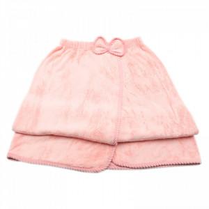 Prosop de baie, pentru femei, tip rochita, prindere cu arici sau nasture, 140 x 80 cm, Roz