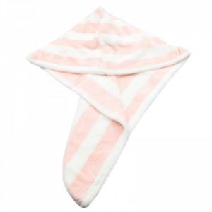 Prosop pentru uscat parul, cu un nasture pentru fixare, pentru adulti, model dungi, 65 x 26 cm, Roz
