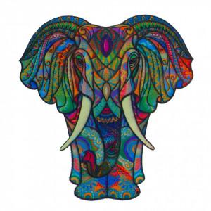 Puzzle Eefant din lemn, Multicolor, 15 x 21 cm, 90 piese