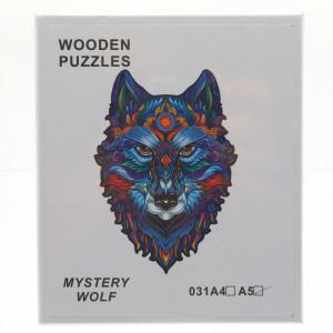 Puzzle Lup din lemn, Multicolor, 15 x 21 cm, 99 piese