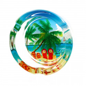 Scrumiera din sticla, model palmier si slapi in nisip, 8.5 x 3.5 cm, Multicolor
