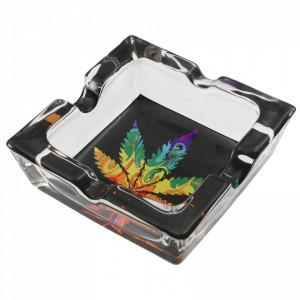Scrumiera din sticla, patrat, model frunza de canabis colorata, 7.8 x 2.6 cm, Multicolor