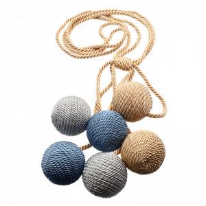 Set 2 buc, Accesorii strangere perdea si draperie, model snur cu 6 bile, 91 cm, Bej cu bleu