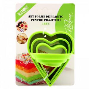 Set 3 buc, Forma-decupator pentru prajituri, inima, Verde