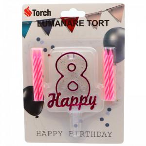 Set 4 buc, Lumanare aniversara,cu suport in forma de Cifra 8, pentru tort, Roz