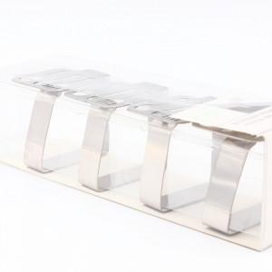 Set 4 bucati, Suport pentru prindere fata de masa, model tacamuri, inox, 5 x 4.5 cm