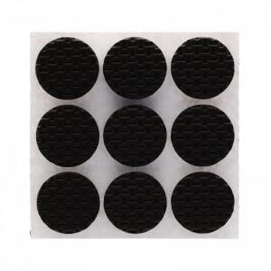 Set 9 bucati, Protectie Antialunecare pentru mobila cu adeziv, rotund, 2.8 x 2.8 cm, Negru
