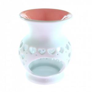 Suport din ceramica pentru aromaterapie, inimioare, Roz