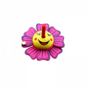 Titirez din lemn, model floare 6 x 6 cm, Roz