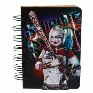 Agenda cu spirala, din lemn, Harley Quinn Suicide Squad, 10 x 7 cm
