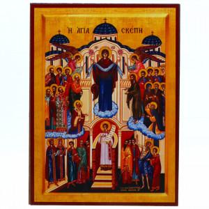 Icoana Acoperamantul Maicii Domnului, lemn, 14x19 cm