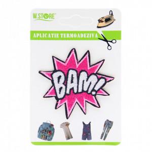 Petic textil / patch brodat BAM!, 6.5 x 6 cm