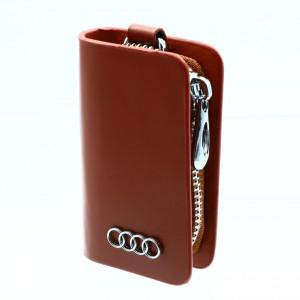Portofel pentru cheie auto, sigla AUDI, tip breloc, piele, cu fermoar, 10 x 6 x 2.5 cm, Maro