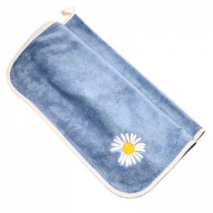 Prosop de bucatarie, absorbant, din microfibra, cu brodaj musetel, 75 x 36 cm, Albastru