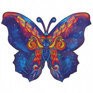 Puzzle Fluture din lemn, Multicolor, 15 x 21 cm, 90 piese