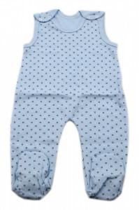 Salopeta bebe tip maieu, Imprimeu bleu cu punctulete negre, 0 - 3 luni, SM03SM3