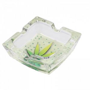 Scrumiera din sticla, patrat, model frunza de canabis, 7.8 x 2.6 cm, Verde cu alb