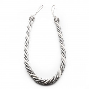 Set 2 buc, Accesorii strangere perdea si draperie, model cordon, 107 x 2.5 cm, Argintiu perlat