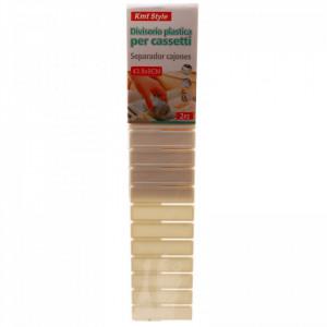 Set 2 buc, Separator / organizator din plastic pentru sertare, 43.8x9 cm, Alb