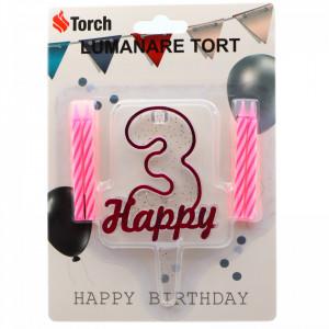 Set 4 buc, Lumanare aniversara,cu suport in forma de Cifra 3, pentru tort, Roz