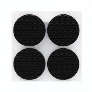 Set 4 bucati, Protectie Antialunecare pentru mobila cu adeziv, rotund, 4x4cm, Negru
