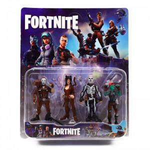 Set 4 figurine tip Fortnite, 3 arme incluse, All seasons ultima batalie, marime 8.5 cm