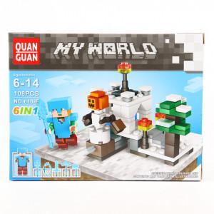 Set de constructie Lego, Anotimpul Rece tip Minecraft, 108 Piese