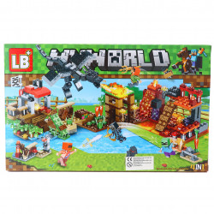Set de constructie, Mina de foc tip Minecraft, 156 piese