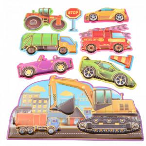 Set Sticker 3D pentru copii, Masinute, decor camera, 9 piese, JJ-FD012, Multicolor