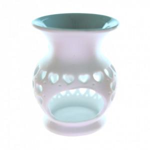 Suport din ceramica pentru aromaterapie, inimioare, Verde-Gri
